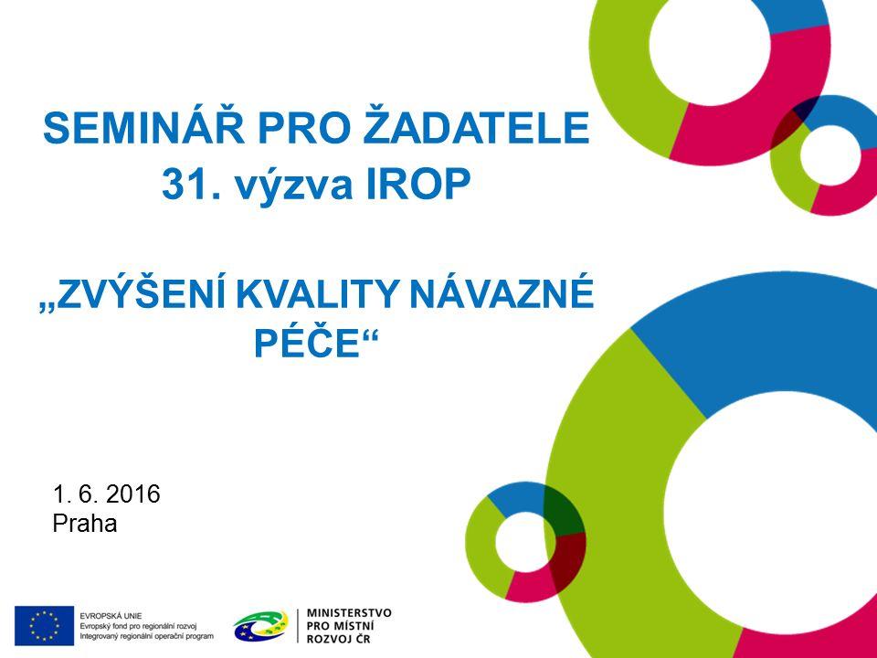 """19. 1. 2016 Praha SEMINÁŘ PRO ŽADATELE 31. výzva IROP """"ZVÝŠENÍ KVALITY NÁVAZNÉ PÉČE 1."""