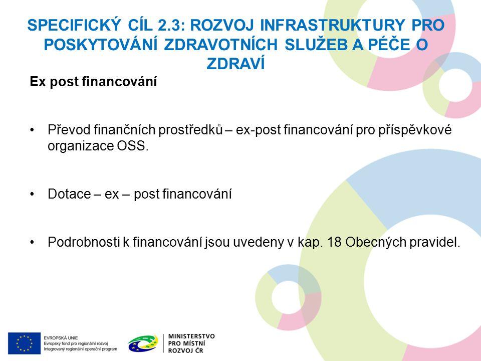Ex post financování Převod finančních prostředků – ex-post financování pro příspěvkové organizace OSS.