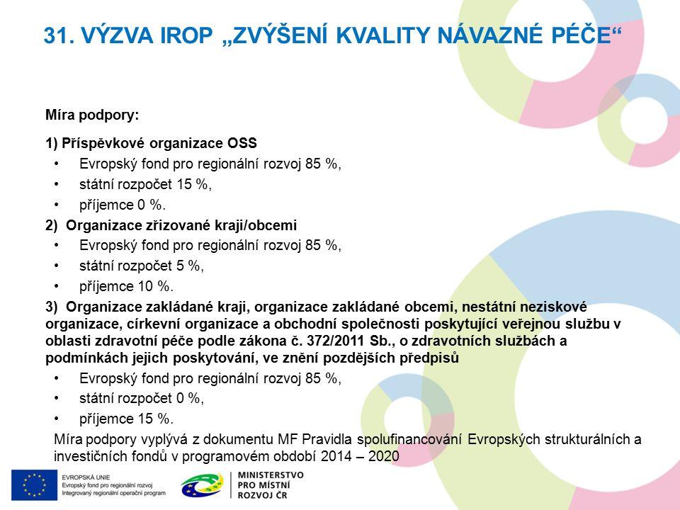Míra podpory: 1) Příspěvkové organizace OSS Evropský fond pro regionální rozvoj 85 %, státní rozpočet 15 %, příjemce 0 %.