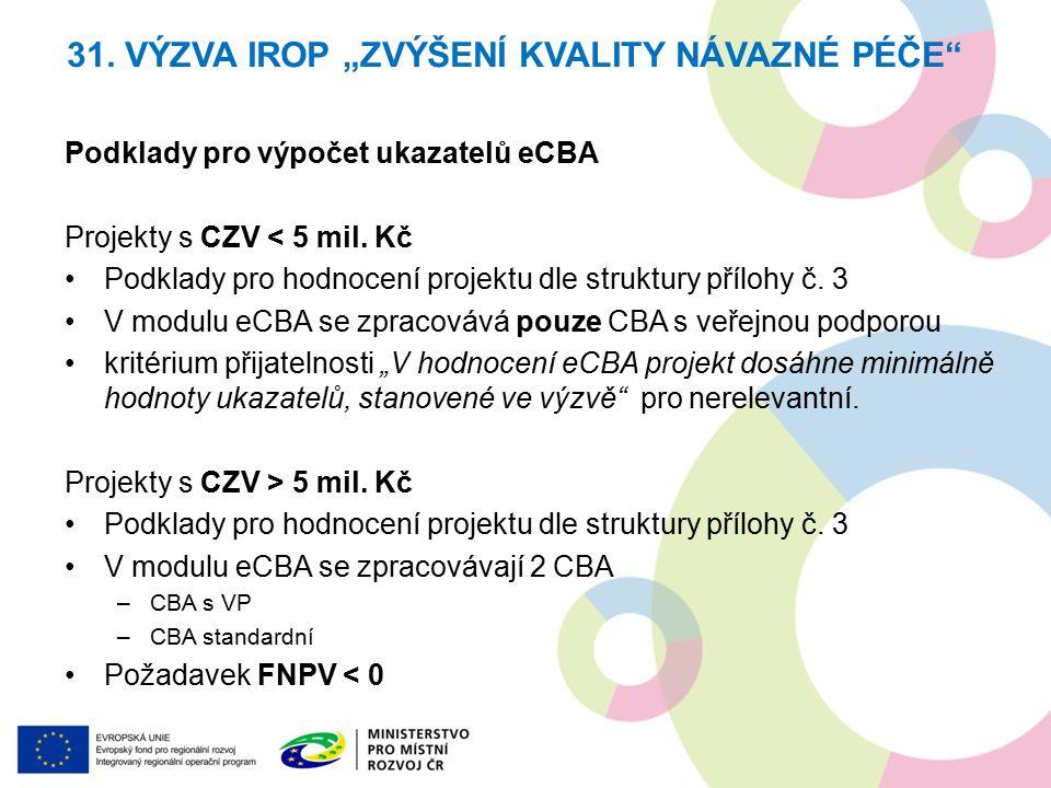 Podklady pro výpočet ukazatelů eCBA Projekty s CZV < 5 mil.