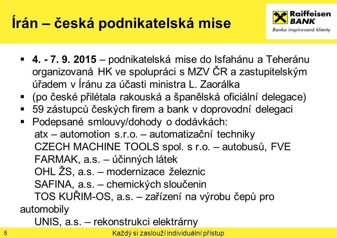 Každý si zaslouží individuální přístup Írán – česká podnikatelská mise 6 5.9.2015 – podnikatelské fórum organizované Isfahánskou komorou