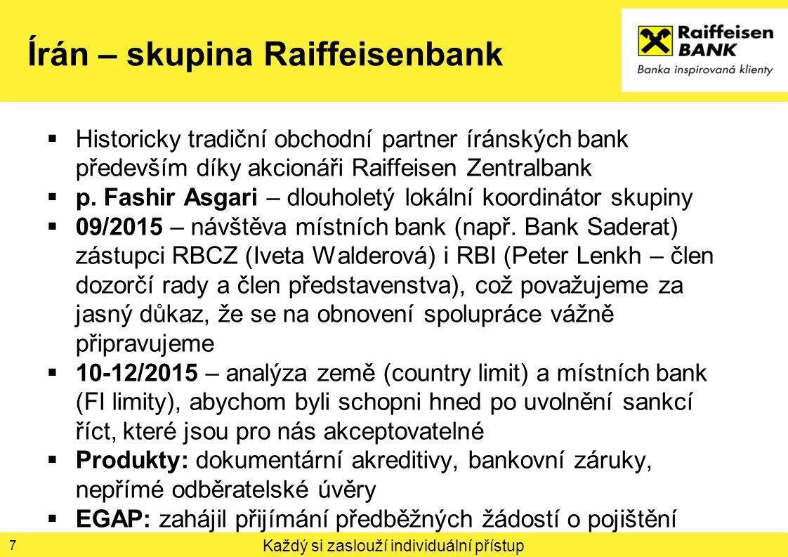 Každý si zaslouží individuální přístup Írán – skupina Raiffeisenbank  Historicky tradiční obchodní partner íránských bank především díky akcionáři Ra