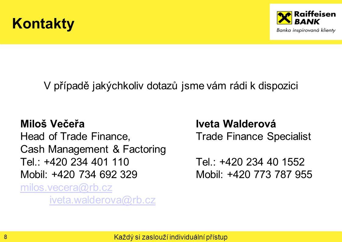 Každý si zaslouží individuální přístup Kontakty V případě jakýchkoliv dotazů jsme vám rádi k dispozici Miloš VečeřaIveta Walderová Head of Trade Finan