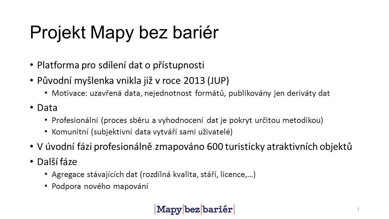 Projekt Mapy bez bariér Platforma pro sdílení dat o přístupnosti Původní myšlenka vnikla již v roce 2013 (JUP) Motivace: uzavřená data, nejednotnost f