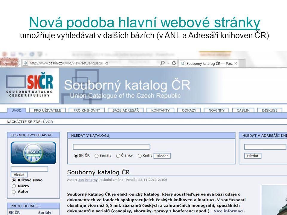 Nová podoba hlavní webové stránky Nová podoba hlavní webové stránky umožňuje vyhledávat v dalších bázích (v ANL a Adresáři knihoven ČR)
