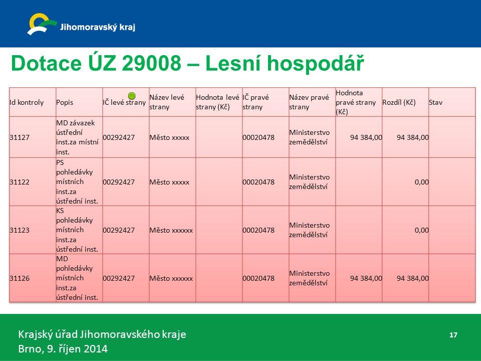 Krajský úřad Jihomoravského kraje Brno, 9. říjen 2014 Dotace ÚZ 29008 – Lesní hospodář 17