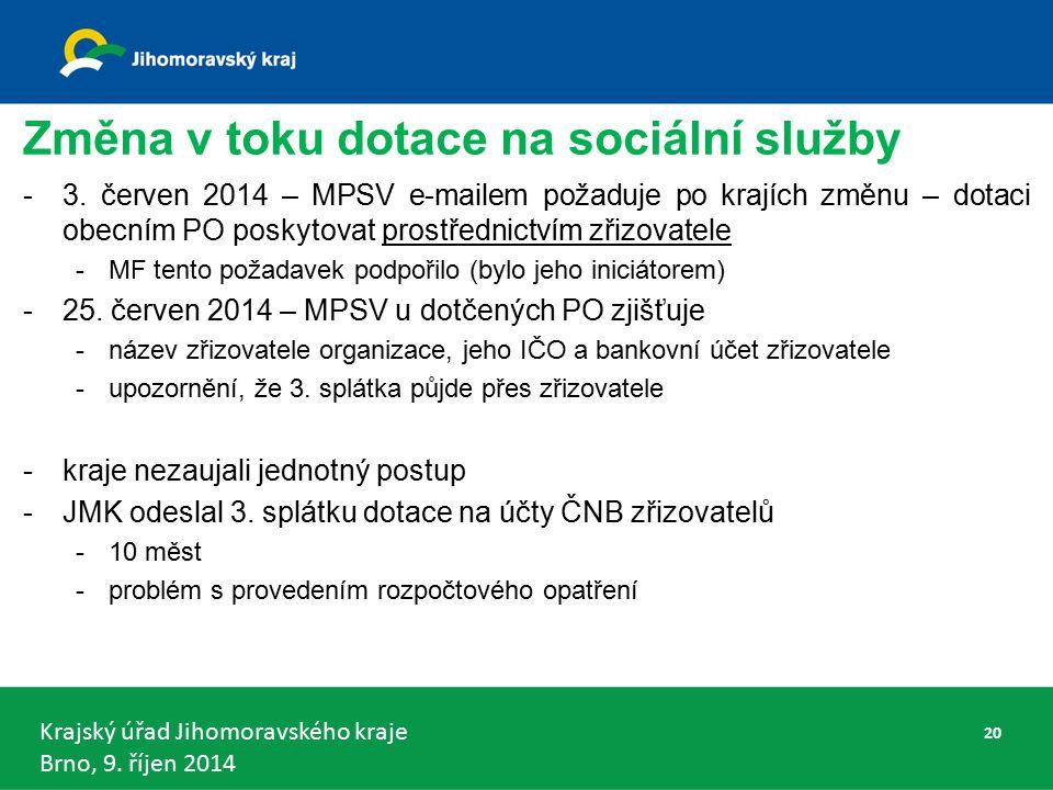 Krajský úřad Jihomoravského kraje Brno, 9. říjen 2014 Změna v toku dotace na sociální služby -3.