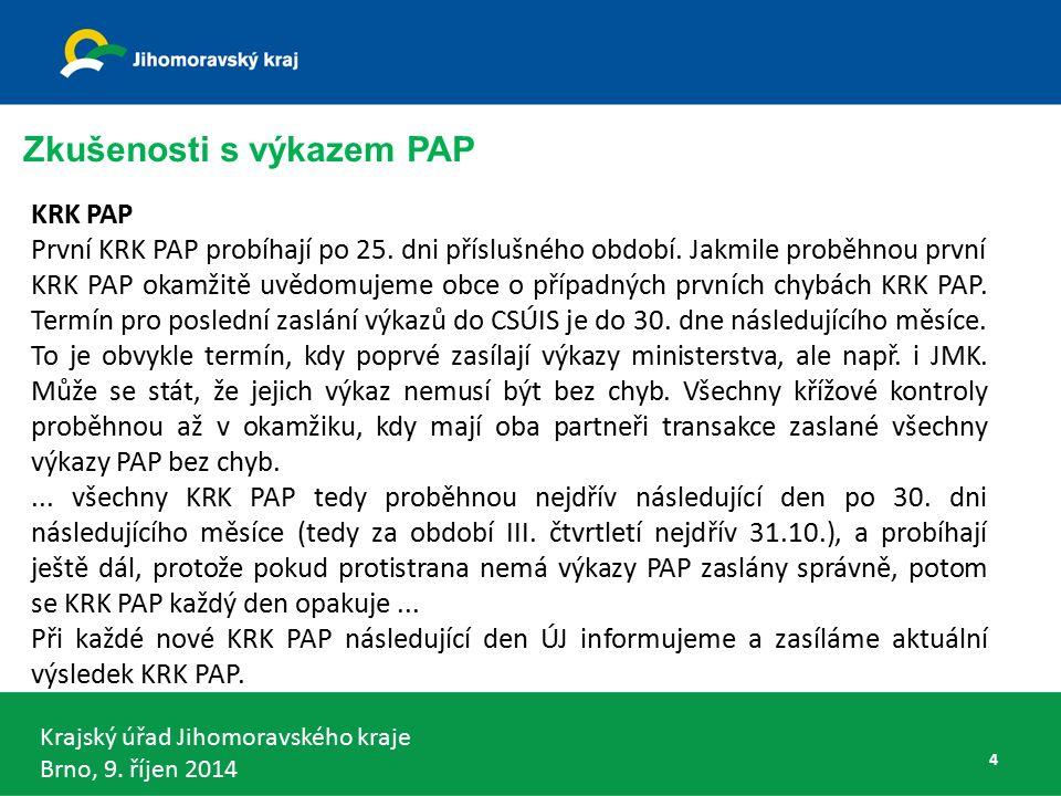 Krajský úřad Jihomoravského kraje Brno, 9. říjen 2014 KRK PAP První KRK PAP probíhají po 25.
