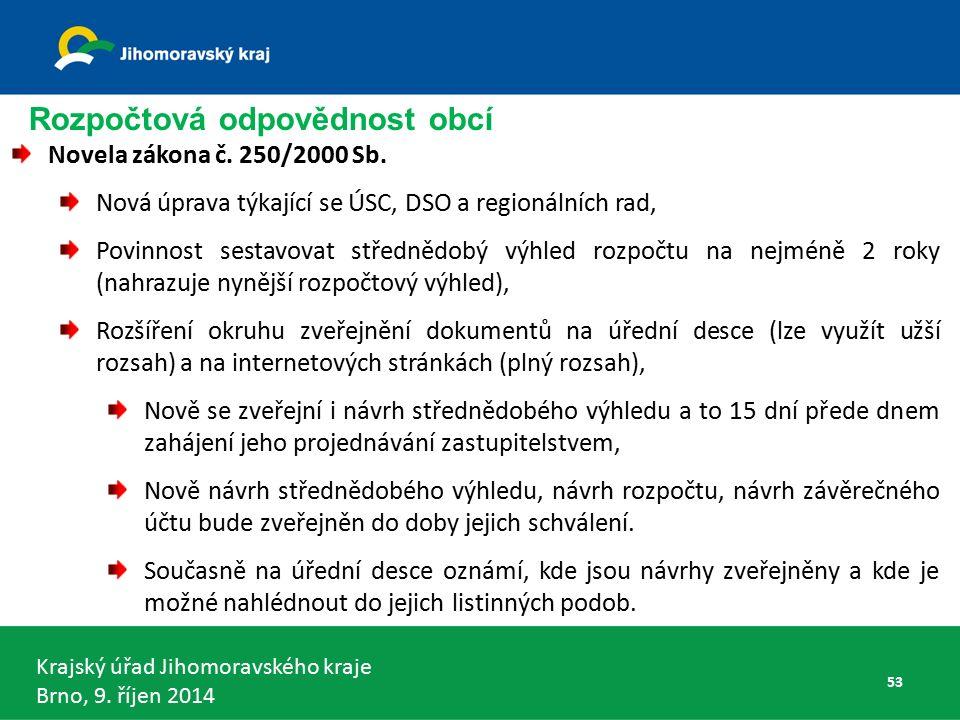 Krajský úřad Jihomoravského kraje Brno, 9. říjen 2014 Rozpočtová odpovědnost obcí Novela zákona č.