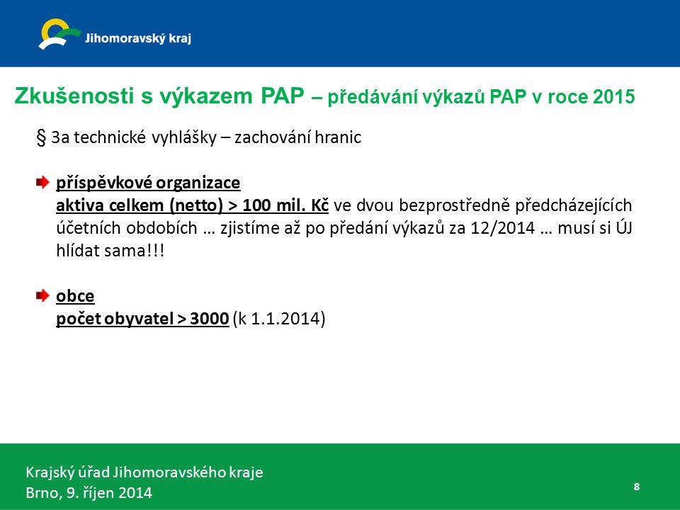 Krajský úřad Jihomoravského kraje Brno, 9.říjen 2014 Nové PO s PAP pro rok 2015 ?!.