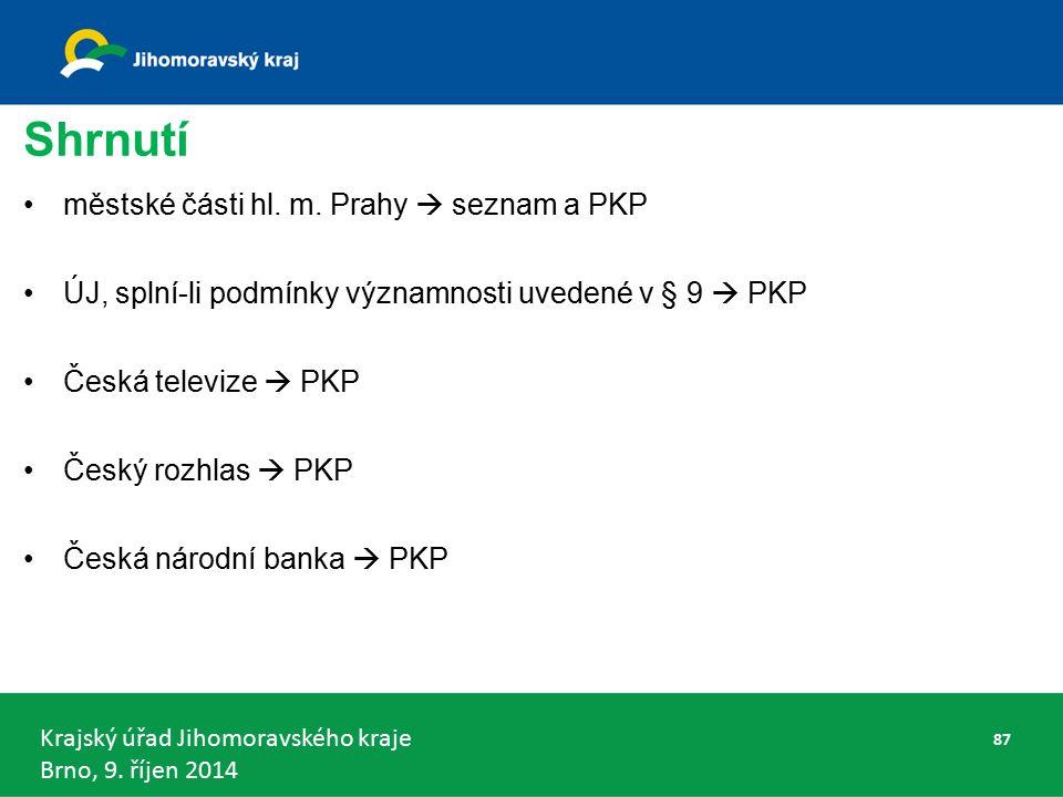 Krajský úřad Jihomoravského kraje Brno, 9. říjen 2014 Shrnutí městské části hl.