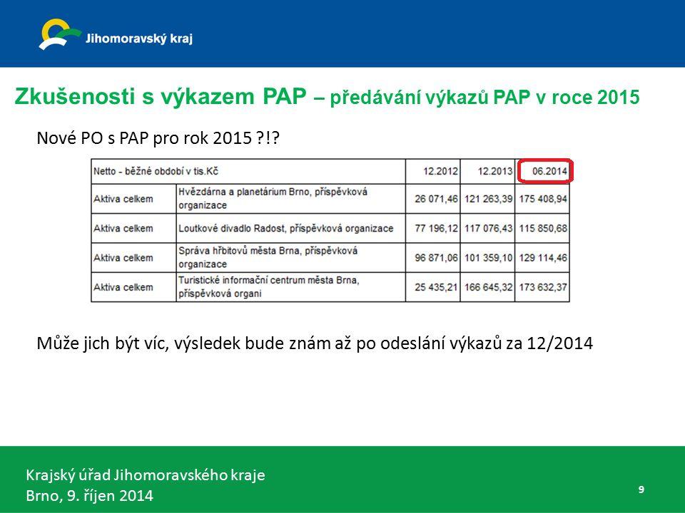 Krajský úřad Jihomoravského kraje Brno, 9. říjen 2014 Nové PO s PAP pro rok 2015 !.