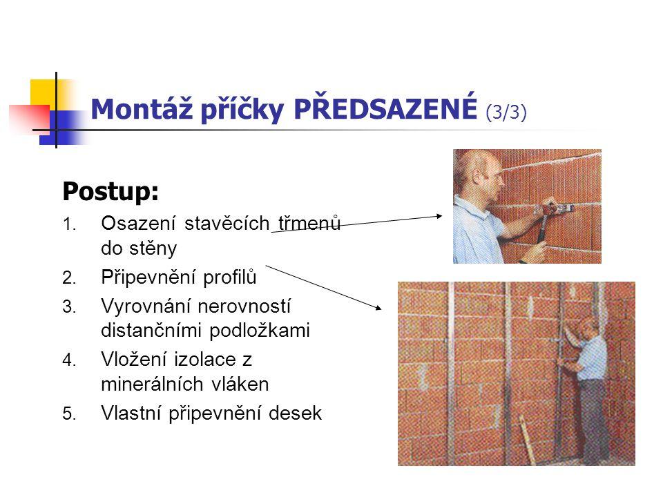 b. Příčky montované PŘEDSAZENÉ (2/3) Uplatnění – všude tam, kde je nutno umístit instalační vedení do vzniklého meziprostoru. Volně stojící předsazená