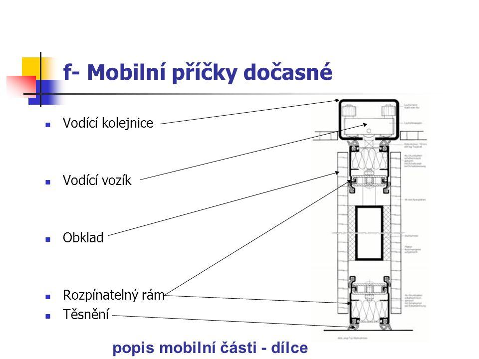 f- Mobilní příčky dočasné Výhody: vysoká estetičnost a rychlost složení – rozložení, možnost složení dílce na jedno místo nejmenším rozměrem k sobě > poměrně snadno uložit.