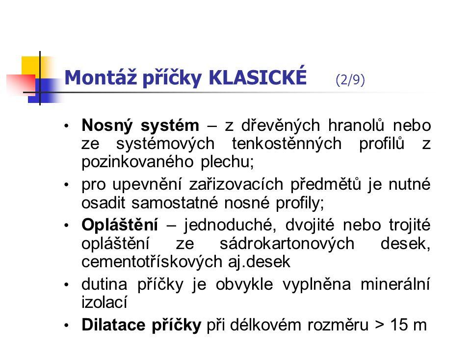 a. Příčky montované KLASICKÉ (1/9) Klasické příčky (sádrokartonové, sádrovláknité, cementotřískové aj.) musí splňovat jak estetické tak i stavebně fyz