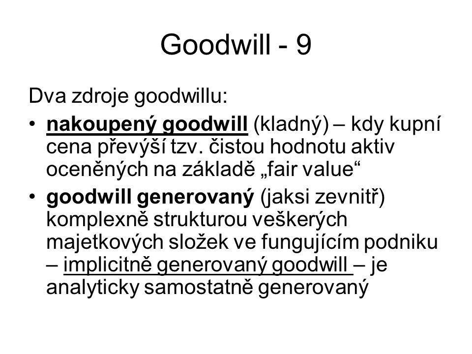 """Goodwill - 9 Dva zdroje goodwillu: nakoupený goodwill (kladný) – kdy kupní cena převýší tzv. čistou hodnotu aktiv oceněných na základě """"fair value"""" go"""