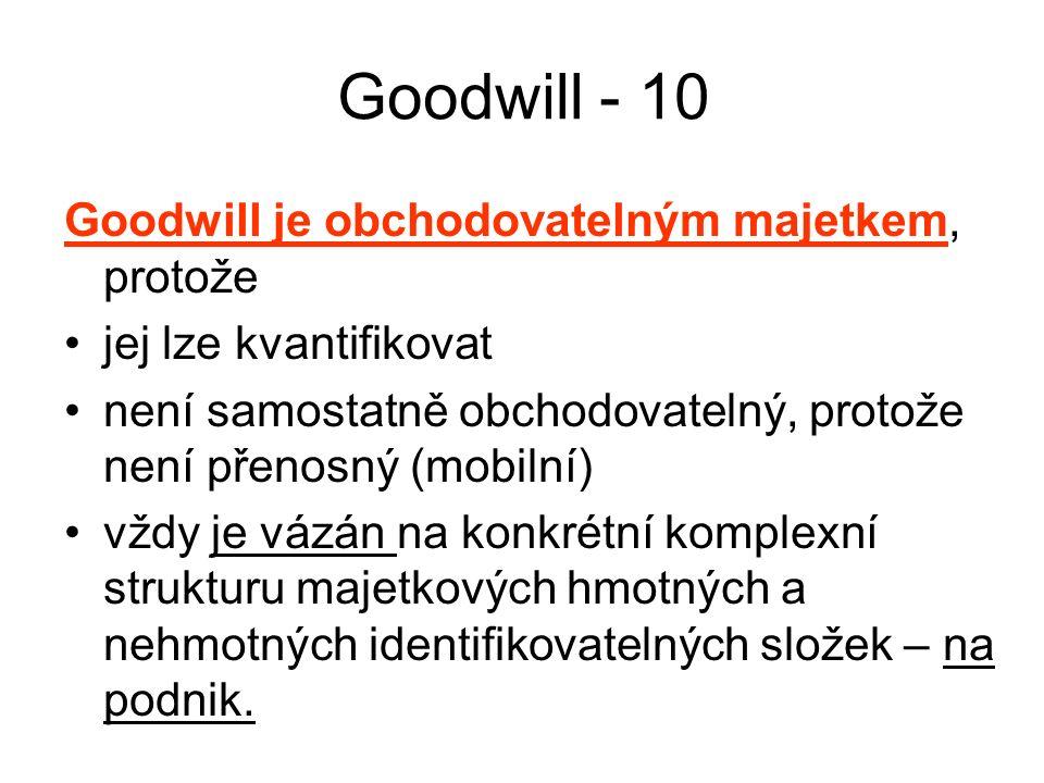 Goodwill - 10 Goodwill je obchodovatelným majetkem, protože jej lze kvantifikovat není samostatně obchodovatelný, protože není přenosný (mobilní) vždy je vázán na konkrétní komplexní strukturu majetkových hmotných a nehmotných identifikovatelných složek – na podnik.