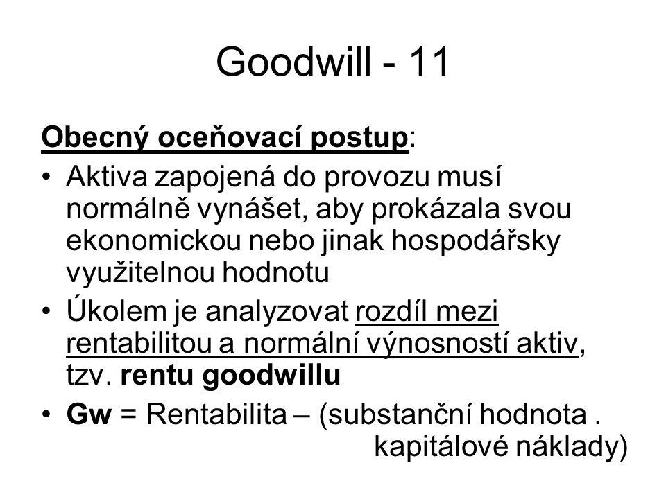 Goodwill - 11 Obecný oceňovací postup: Aktiva zapojená do provozu musí normálně vynášet, aby prokázala svou ekonomickou nebo jinak hospodářsky využitelnou hodnotu Úkolem je analyzovat rozdíl mezi rentabilitou a normální výnosností aktiv, tzv.