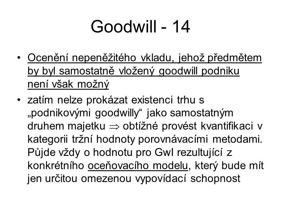 """Goodwill - 14 Ocenění nepeněžitého vkladu, jehož předmětem by byl samostatně vložený goodwill podniku není však možný zatím nelze prokázat existenci trhu s """"podnikovými goodwilly jako samostatným druhem majetku  obtížné provést kvantifikaci v kategorii tržní hodnoty porovnávacími metodami."""
