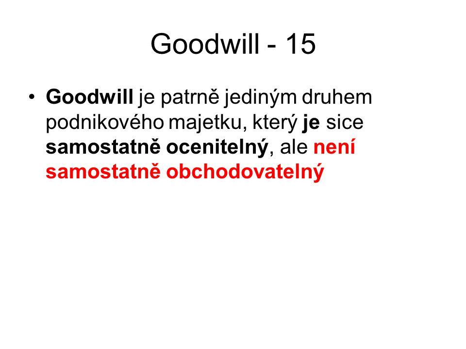 Goodwill - 15 Goodwill je patrně jediným druhem podnikového majetku, který je sice samostatně ocenitelný, ale není samostatně obchodovatelný