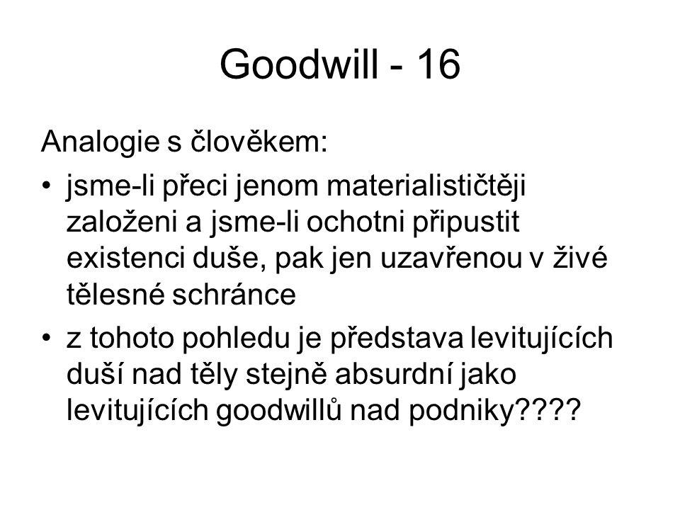 Goodwill - 16 Analogie s člověkem: jsme-li přeci jenom materialističtěji založeni a jsme-li ochotni připustit existenci duše, pak jen uzavřenou v živé