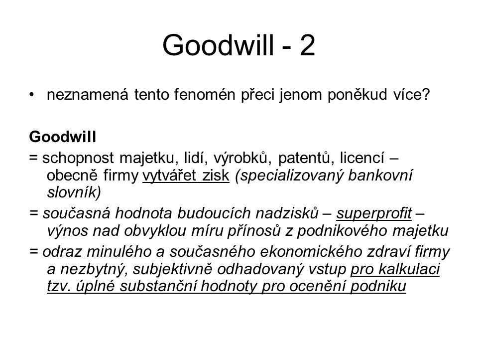 Goodwill - 2 neznamená tento fenomén přeci jenom poněkud více? Goodwill = schopnost majetku, lidí, výrobků, patentů, licencí – obecně firmy vytvářet z