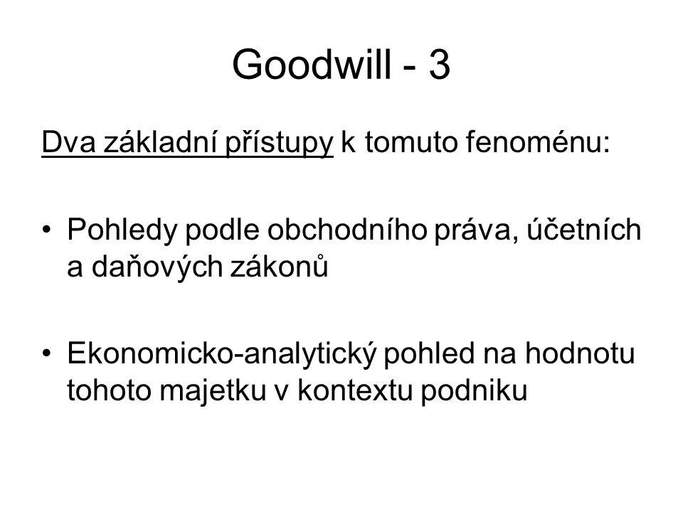 Goodwill - 3 Dva základní přístupy k tomuto fenoménu: Pohledy podle obchodního práva, účetních a daňových zákonů Ekonomicko-analytický pohled na hodnotu tohoto majetku v kontextu podniku