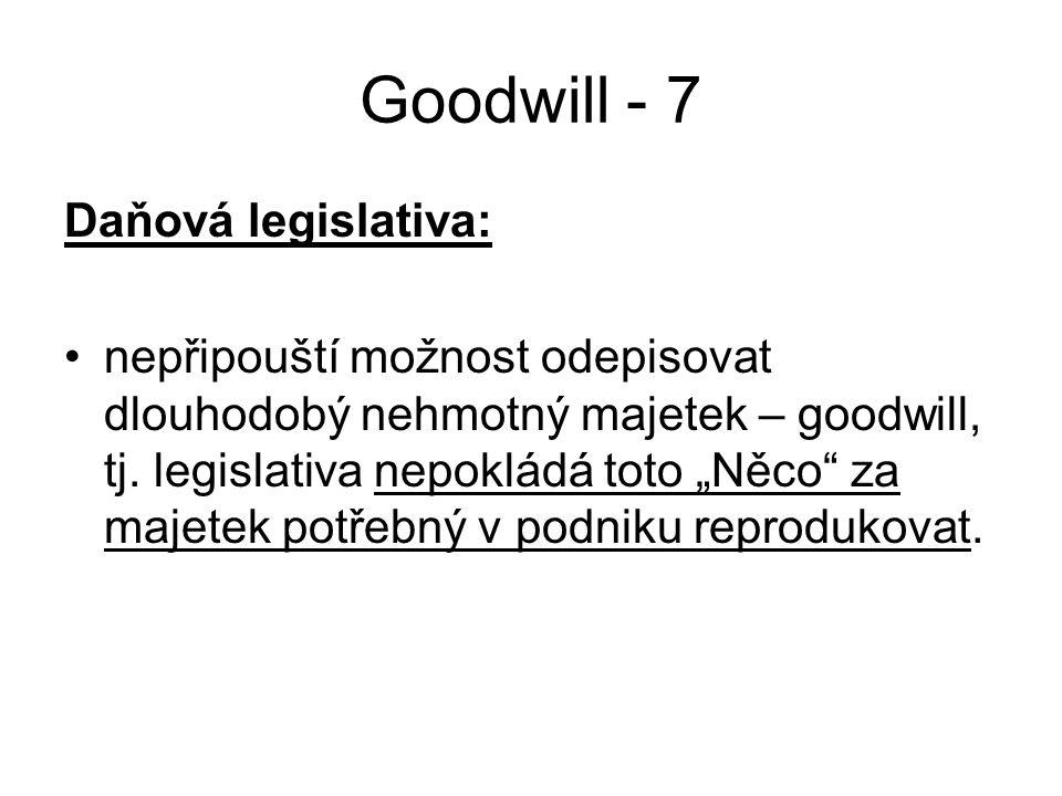 """Goodwill - 7 Daňová legislativa: nepřipouští možnost odepisovat dlouhodobý nehmotný majetek – goodwill, tj. legislativa nepokládá toto """"Něco"""" za majet"""