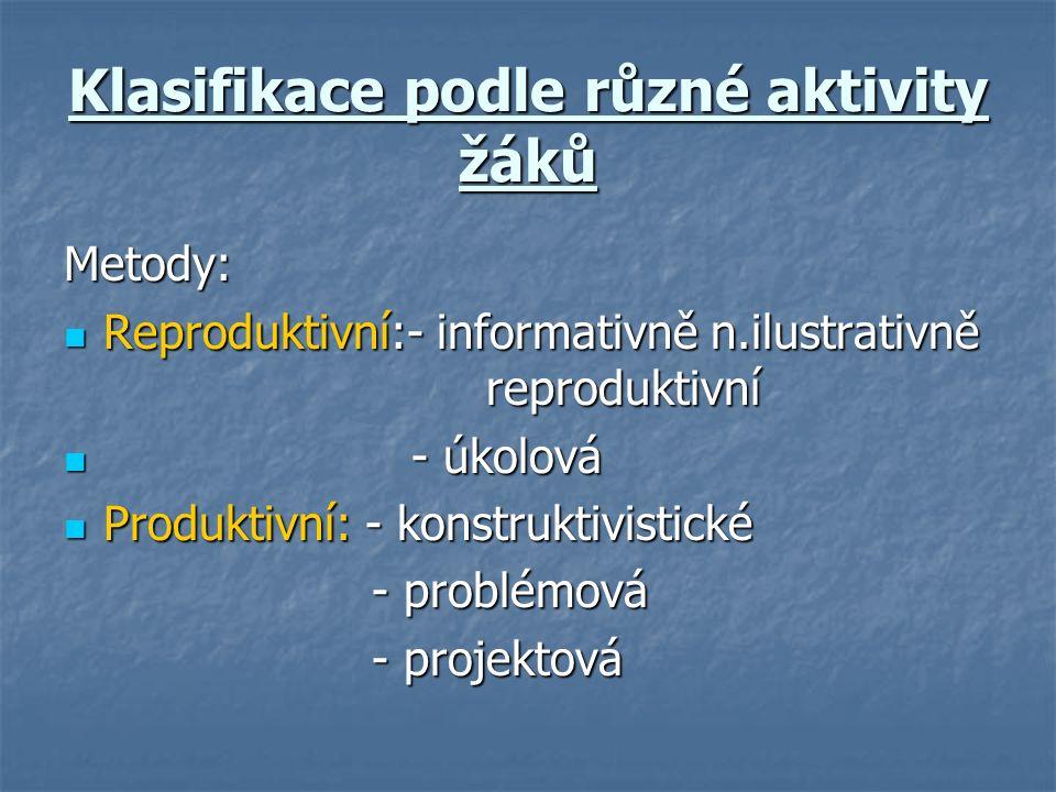 Klasifikace podle různé aktivity žáků Metody: Reproduktivní:- informativně n.ilustrativně reproduktivní Reproduktivní:- informativně n.ilustrativně reproduktivní - úkolová - úkolová Produktivní: - konstruktivistické Produktivní: - konstruktivistické - problémová - problémová - projektová - projektová