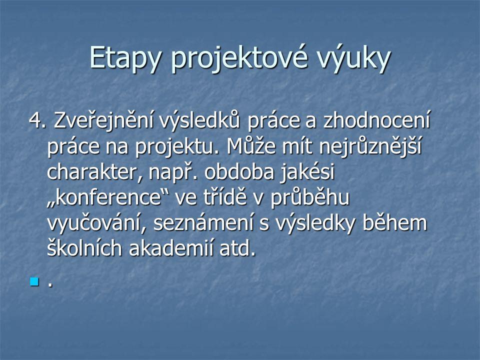 Etapy projektové výuky 4. Zveřejnění výsledků práce a zhodnocení práce na projektu.