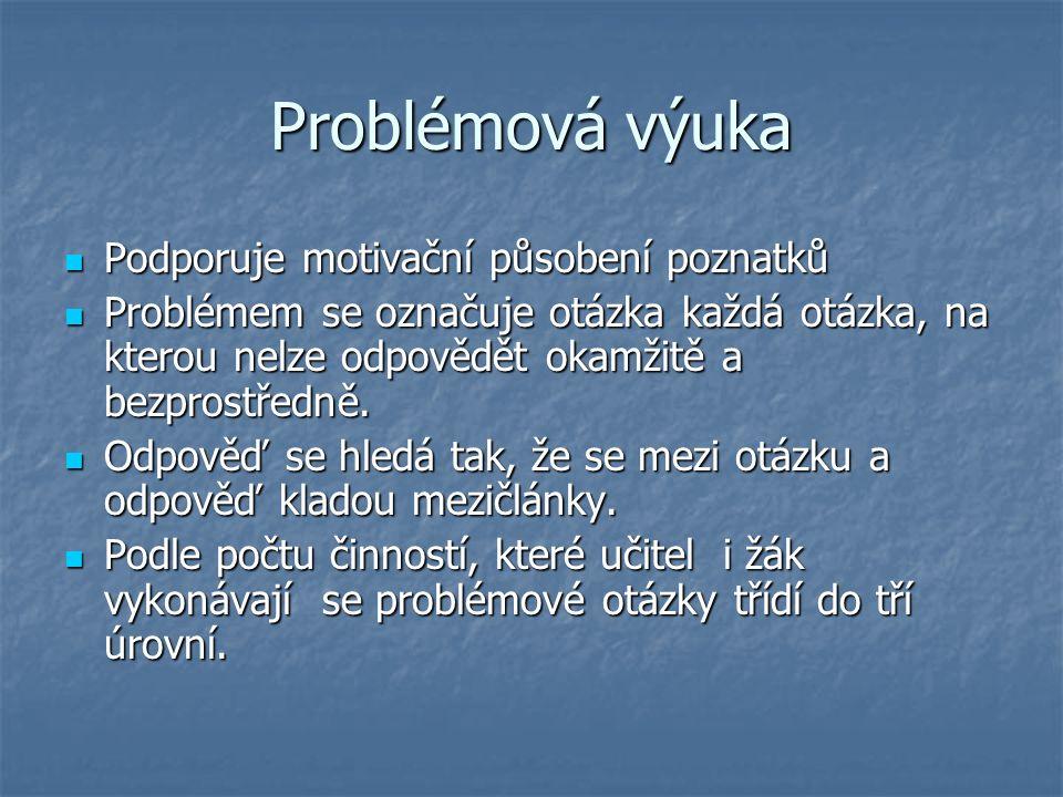 Problémová výuka Podporuje motivační působení poznatků Podporuje motivační působení poznatků Problémem se označuje otázka každá otázka, na kterou nelze odpovědět okamžitě a bezprostředně.