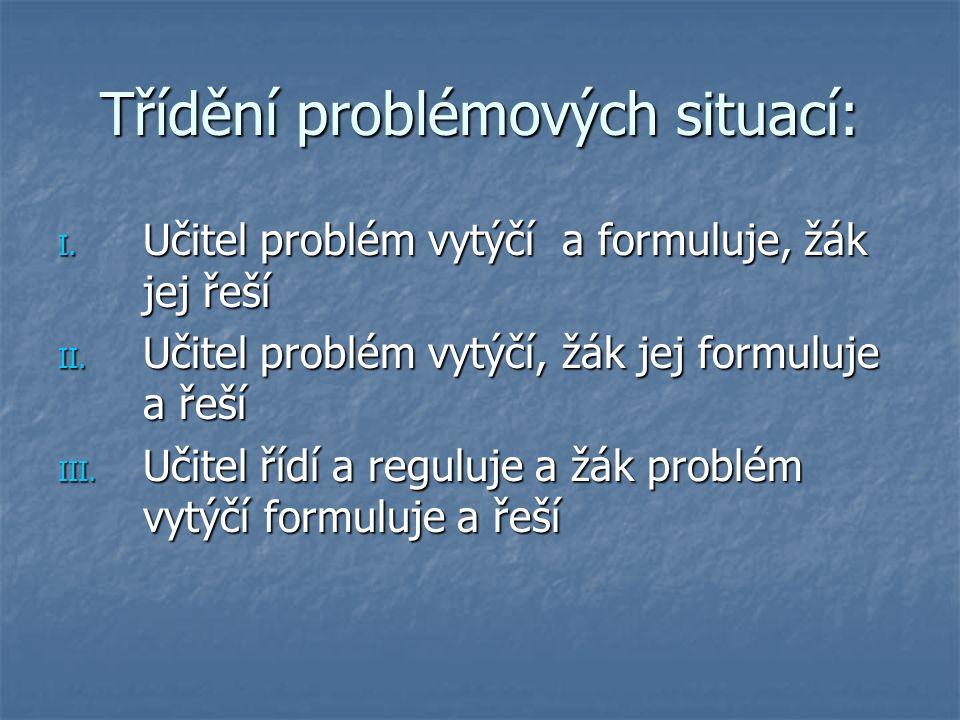 Třídění problémových situací: I. Učitel problém vytýčí a formuluje, žák jej řeší II.