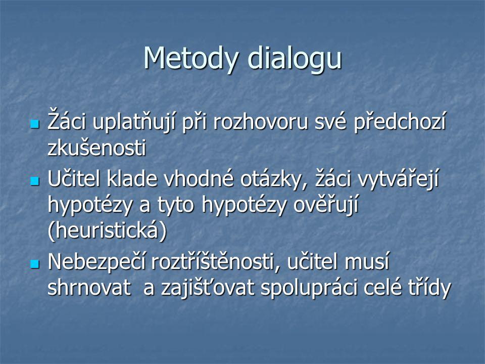 Metody dialogu Žáci uplatňují při rozhovoru své předchozí zkušenosti Žáci uplatňují při rozhovoru své předchozí zkušenosti Učitel klade vhodné otázky, žáci vytvářejí hypotézy a tyto hypotézy ověřují (heuristická) Učitel klade vhodné otázky, žáci vytvářejí hypotézy a tyto hypotézy ověřují (heuristická) Nebezpečí roztříštěnosti, učitel musí shrnovat a zajišťovat spolupráci celé třídy Nebezpečí roztříštěnosti, učitel musí shrnovat a zajišťovat spolupráci celé třídy