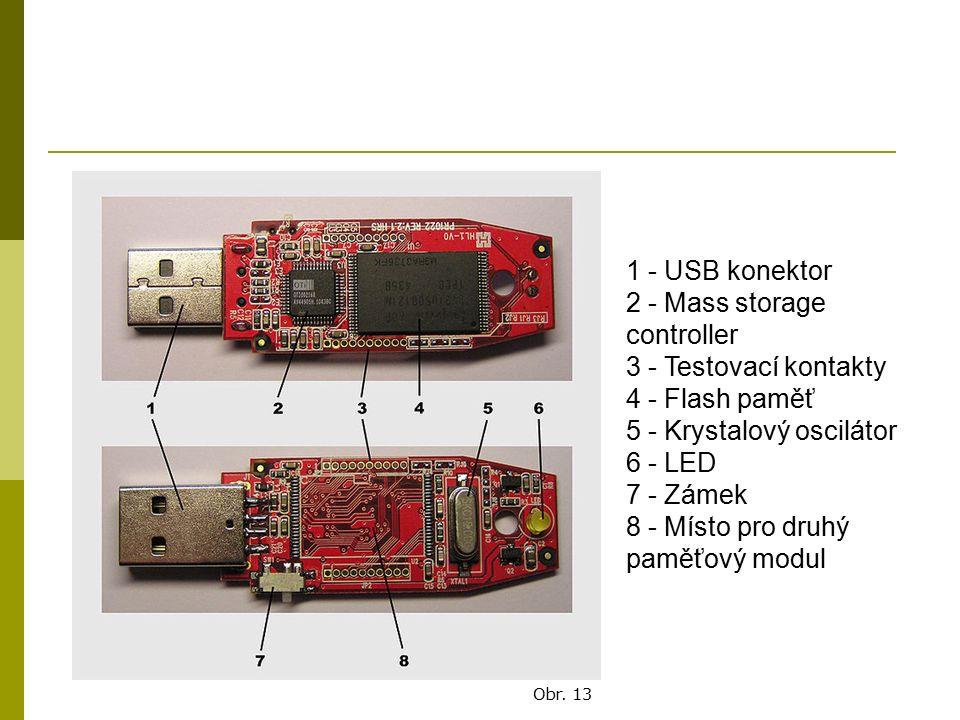 1 - USB konektor 2 - Mass storage controller 3 - Testovací kontakty 4 - Flash paměť 5 - Krystalový oscilátor 6 - LED 7 - Zámek 8 - Místo pro druhý pam