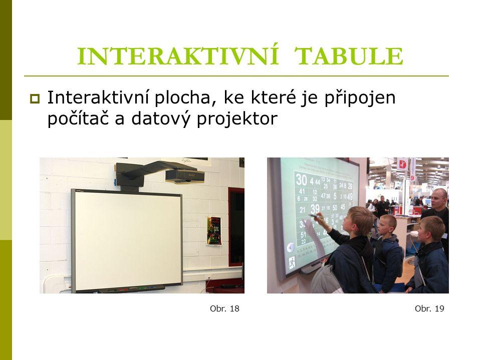 INTERAKTIVNÍ TABULE  Interaktivní plocha, ke které je připojen počítač a datový projektor Obr. 19Obr. 18