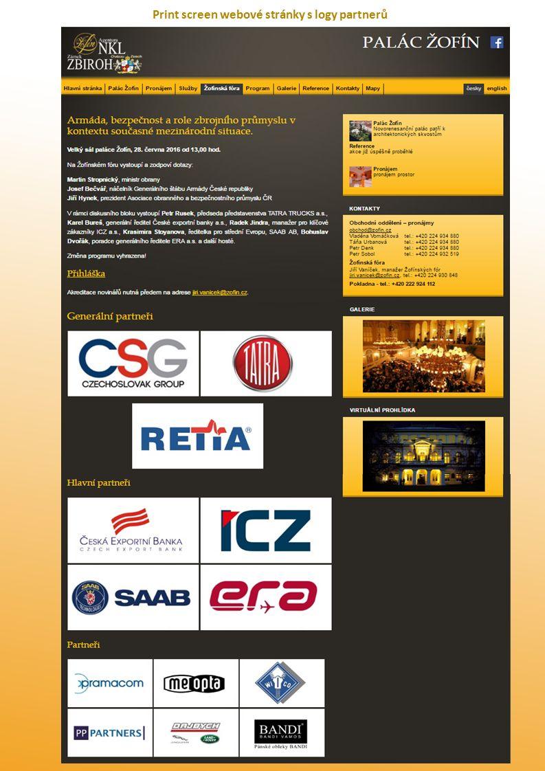 Print screen webové stránky s logy partnerů