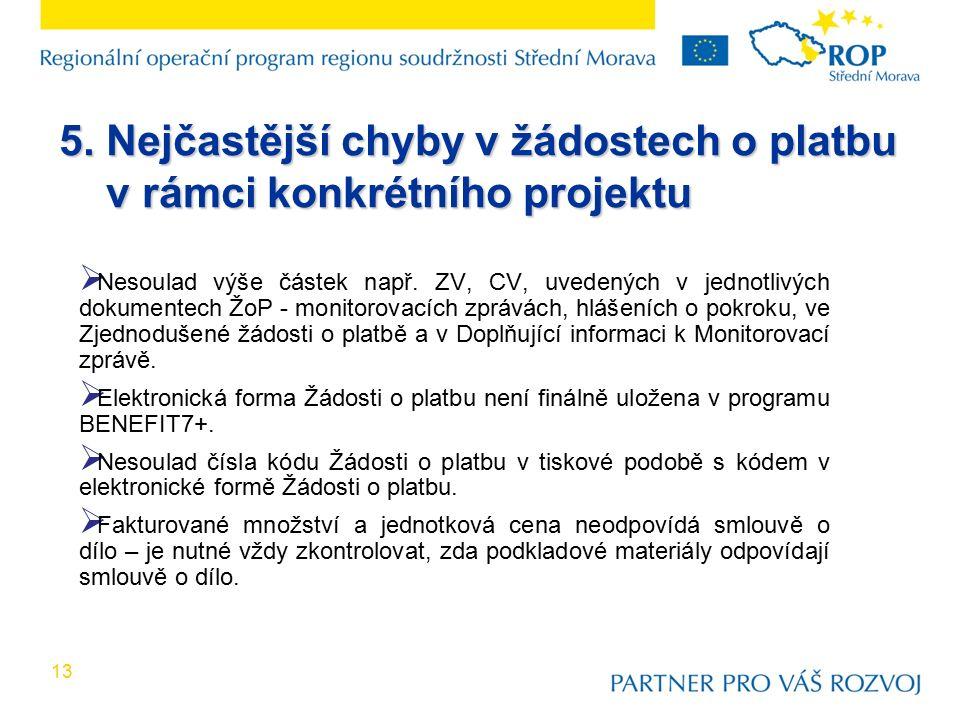 13  Nesoulad výše částek např. ZV, CV, uvedených v jednotlivých dokumentech ŽoP - monitorovacích zprávách, hlášeních o pokroku, ve Zjednodušené žádos