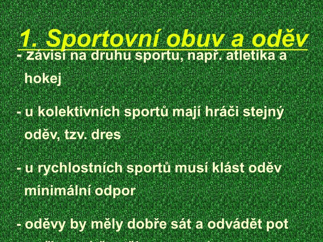 1. Sportovní obuv a oděv - z ávisí na druhu sportu, např. atletika a hokej - u kolektivních sportů mají hráči stejný oděv, tzv. dres - u rychlostních