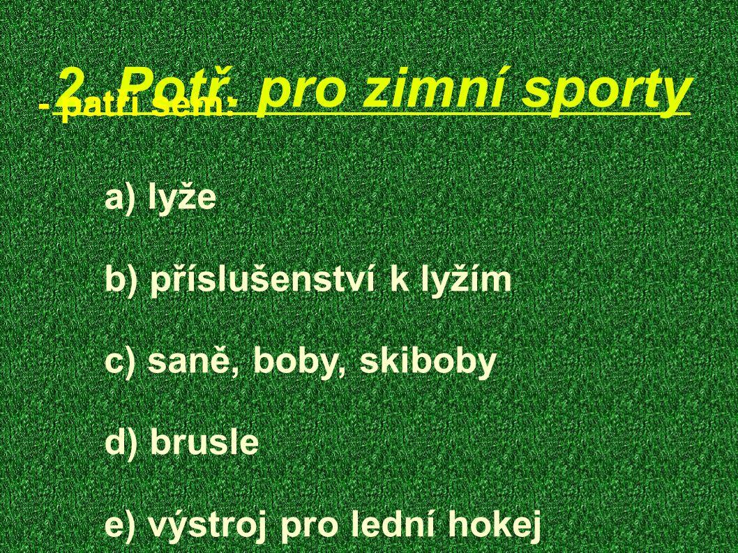 2. Potř. pro zimní sporty - patří sem: a) lyže b) příslušenství k lyžím c) saně, boby, skiboby d) brusle e) výstroj pro lední hokej