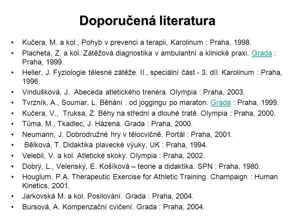 Doporučená literatura Kučera, M. a kol., Pohyb v prevenci a terapii, Karolinum : Praha, 1998.