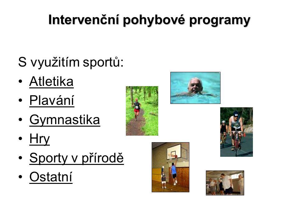 Intervenční pohybové programy S využitím sportů: Atletika Plavání Gymnastika Hry Sporty v přírodě Ostatní