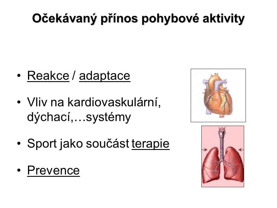 Očekávaný přínos pohybové aktivity Reakce / adaptace Vliv na kardiovaskulární, dýchací,…systémy Sport jako součást terapie Prevence