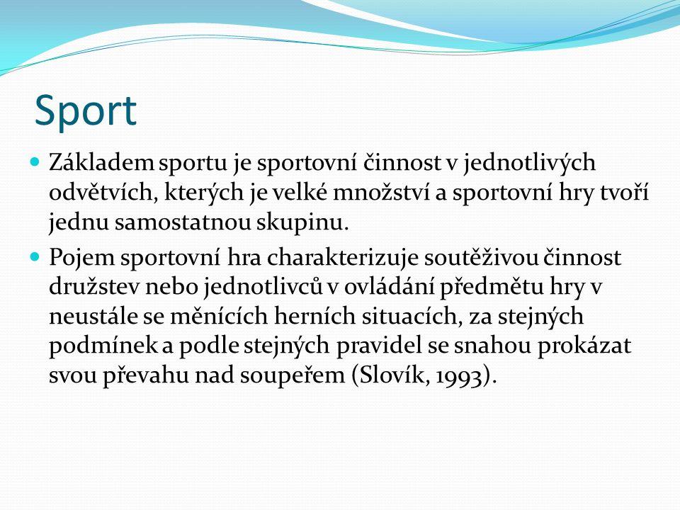 Sport Základem sportu je sportovní činnost v jednotlivých odvětvích, kterých je velké množství a sportovní hry tvoří jednu samostatnou skupinu.