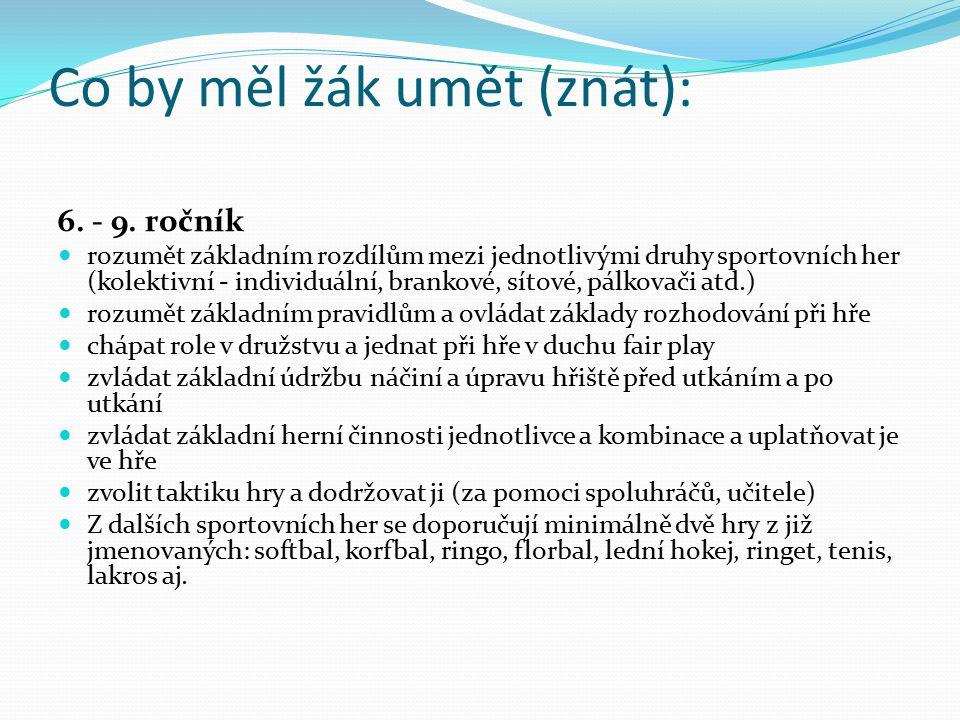 Co by měl žák umět (znát): 6. - 9. ročník rozumět základním rozdílům mezi jednotlivými druhy sportovních her (kolektivní - individuální, brankové, sít
