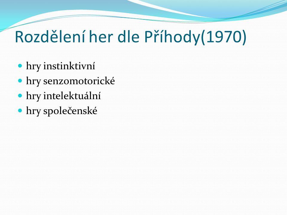 Rozdělení her dle Příhody(1970) hry instinktivní hry senzomotorické hry intelektuální hry společenské