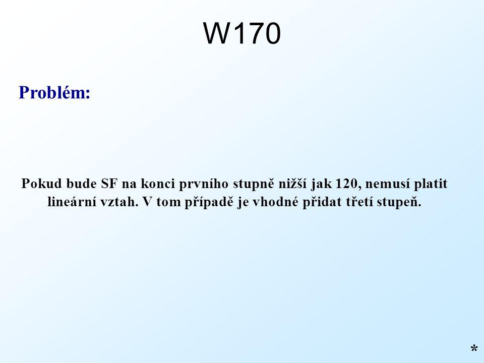 W170 * Pokud bude SF na konci prvního stupně nižší jak 120, nemusí platit lineární vztah.