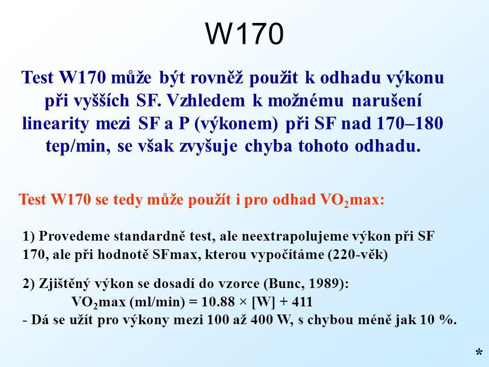 W170 * Test W170 se tedy může použít i pro odhad VO 2 max: Test W170 může být rovněž použit k odhadu výkonu při vyšších SF.
