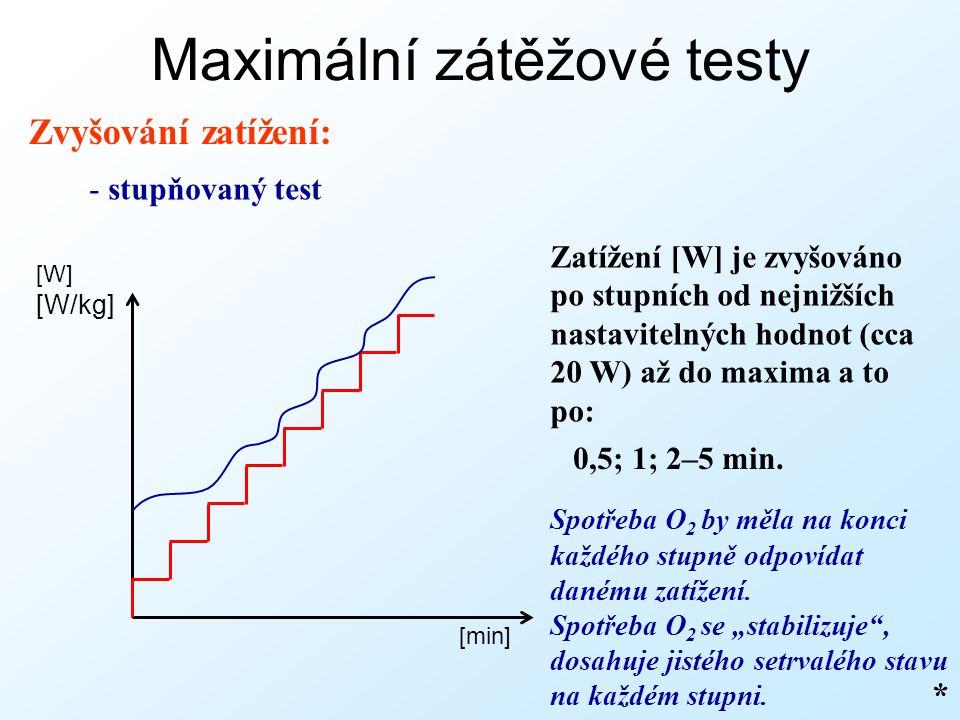Maximální zátěžové testy Zvyšování zatížení: - stupňovaný test * [min] [W] [W/kg] Zatížení [W] je zvyšováno po stupních od nejnižších nastavitelných hodnot (cca 20 W) až do maxima a to po: Spotřeba O 2 by měla na konci každého stupně odpovídat danému zatížení.