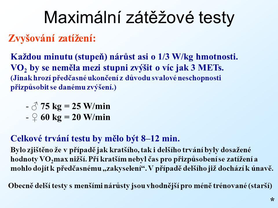 Maximální zátěžové testy Zvyšování zatížení: Každou minutu (stupeň) nárůst asi o 1/3 W/kg hmotnosti.