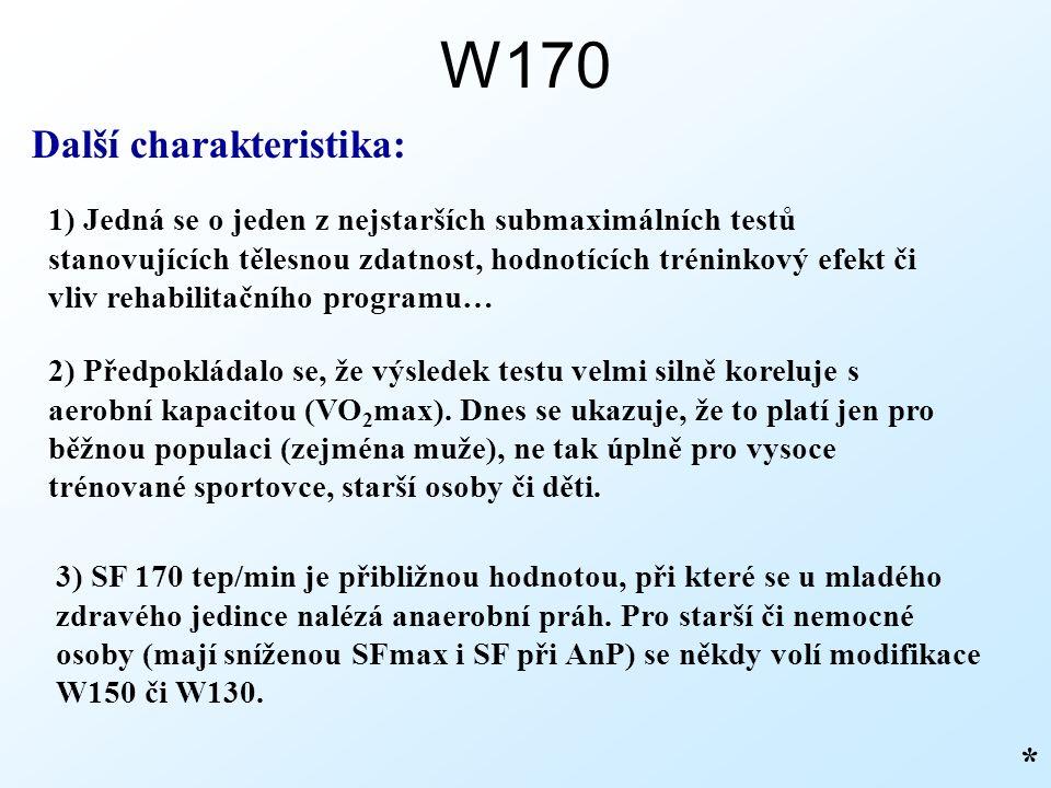 W170 Další charakteristika: 1) Jedná se o jeden z nejstarších submaximálních testů stanovujících tělesnou zdatnost, hodnotících tréninkový efekt či vliv rehabilitačního programu… * 2) Předpokládalo se, že výsledek testu velmi silně koreluje s aerobní kapacitou (VO 2 max).